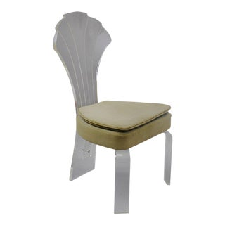 Hill Mfg. Shell Fan Back Lucite Dining Side Chair Hollywood Regency Mid Century