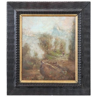 20th Century Italian Oil Painting on Cardboard by Luigi Bosio, 1920s For Sale