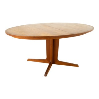 Niels Koefoeds for Uldum Mobelfabrik Mid Century Danish Teak Pedestal Base Dining Table For Sale