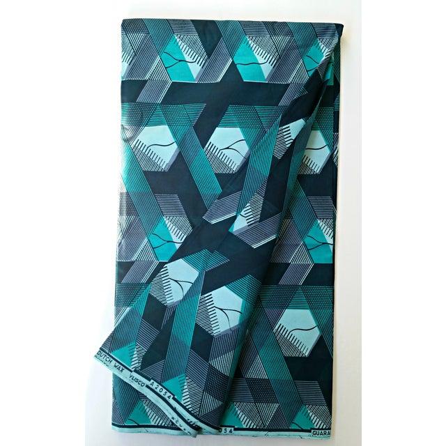 Blue Geometric African Wax Fabric -2 Yards - Image 2 of 6