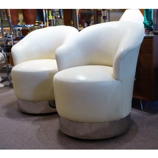 1980s Mid-Century Modern Sally Sirkin Lewis Lambskin Marina Swivel Chairs on Casters - a Pair Preview