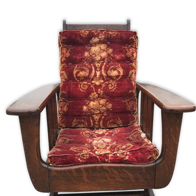We've obtained many Morris Chairs in the past, and this is one of - Antique Arts & Crafts Mission Tiger Oak Reclining Morris Rocking