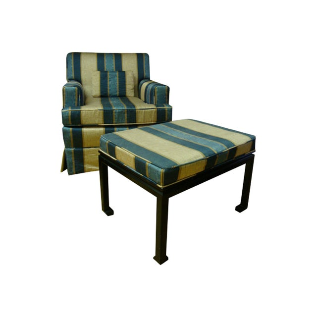 Vintage Moire Satin Armchair and Ottoman - Image 1 of 10