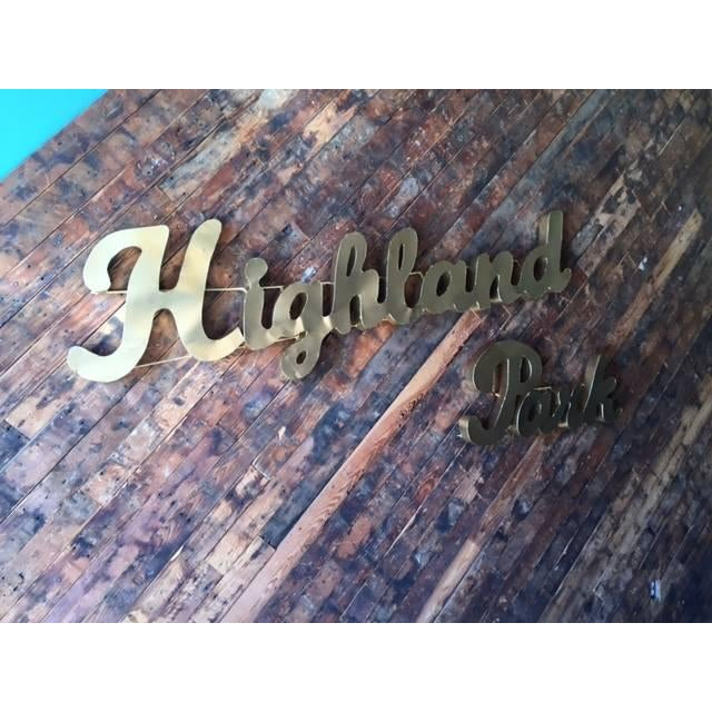 Industrial Gold Highland Park Metal Sign - Image 3 of 4
