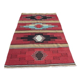 "Vintage Turkish Kilim Rug - 3'7"" x5'9"" For Sale"