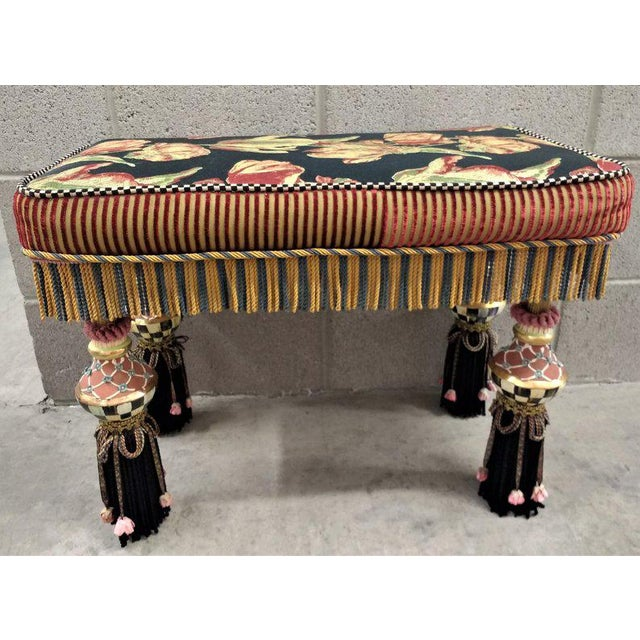 1980s Vintage MacKenzie Childs Boho Chic Bench For Sale In Phoenix - Image 6 of 6