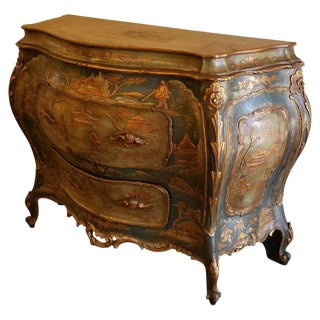 Antique Venetian Chinoiserie Bombe Commode For Sale