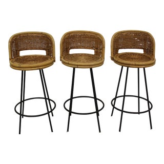 Mid Century Modern Arthur Umanoff style bar stools set of 3 For Sale
