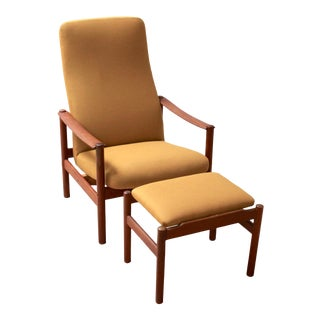 Mid-Century Norwegian Modern Reclining Teak Lounge Chair and Ottoman For Sale