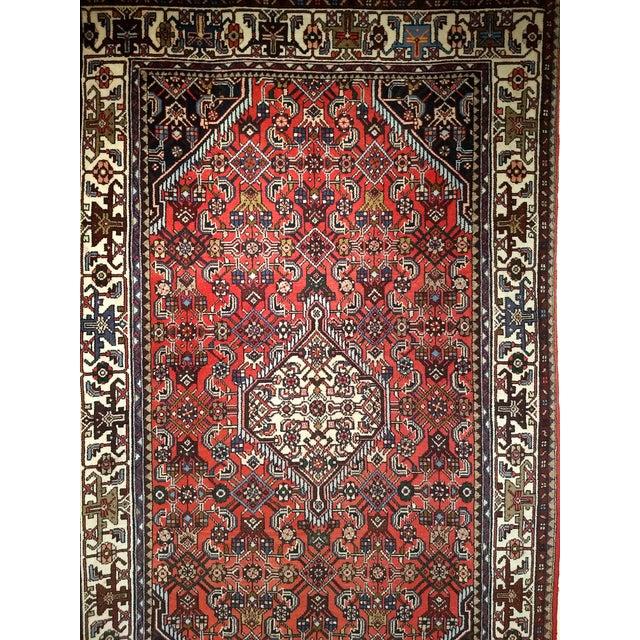 1950s Persian Handmade Village Carpet Rug 4′3″ × 6′11″ For Sale - Image 10 of 13