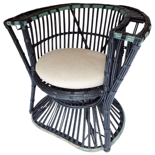 Rare Curved Stick Wicker Chair - Image 1 of 5