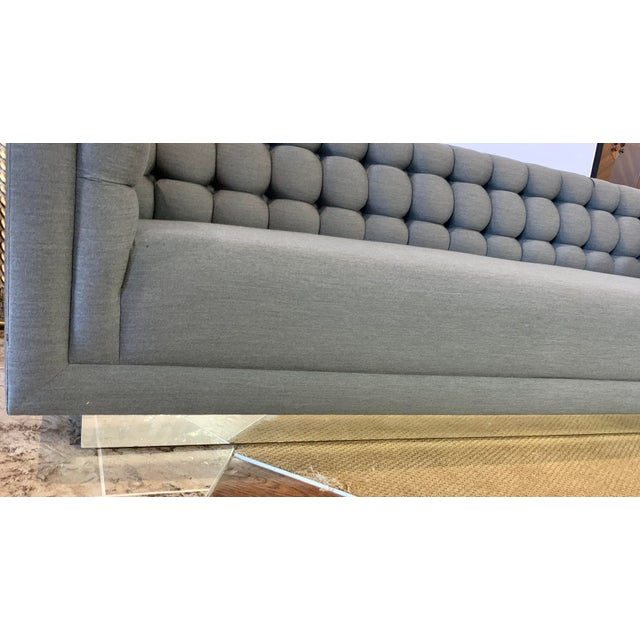 Mid-Century Modern 1970s Vintage Milo Baughman Chrome and Tufted Gray Sofa For Sale - Image 3 of 13