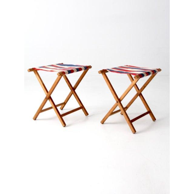 Awe Inspiring Vintage Striped Camp Stools Set Of 2 Bralicious Painted Fabric Chair Ideas Braliciousco