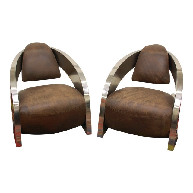 Timothy Oulton Aviator Style Chairs - Pair - Image 1 of 8