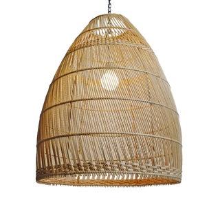 Natural Wicker Basket Bell Lantern Large For Sale