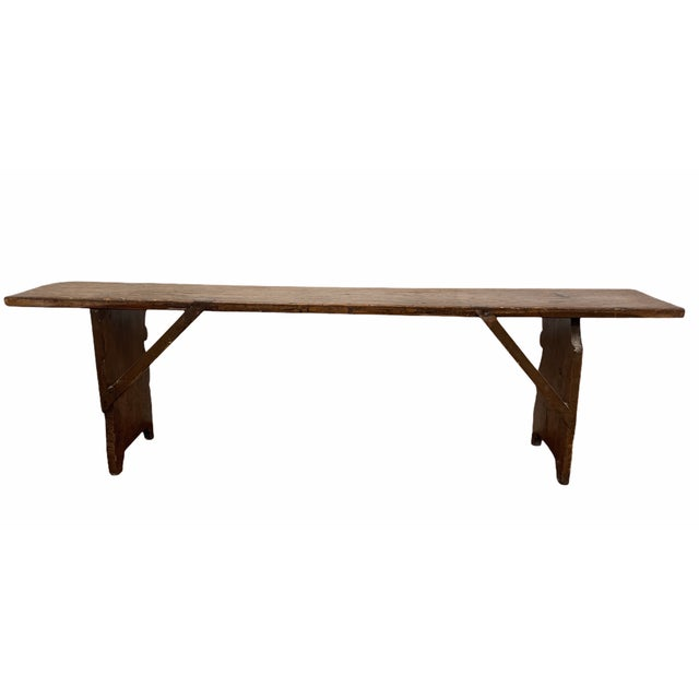Early 20th Century Vintage Country Farmhouse Wood Bench For Sale - Image 4 of 11