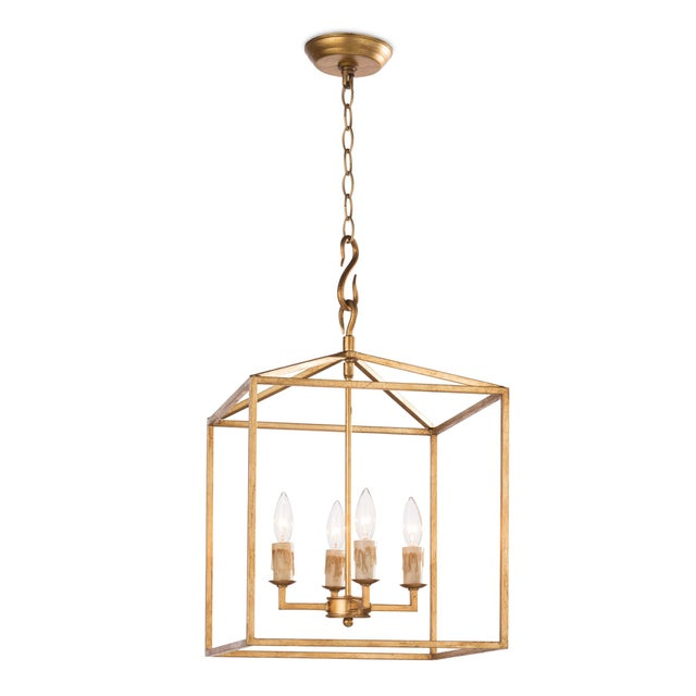 Cape Lantern Small in Antique Gold Leaf For Sale In Detroit - Image 6 of 6