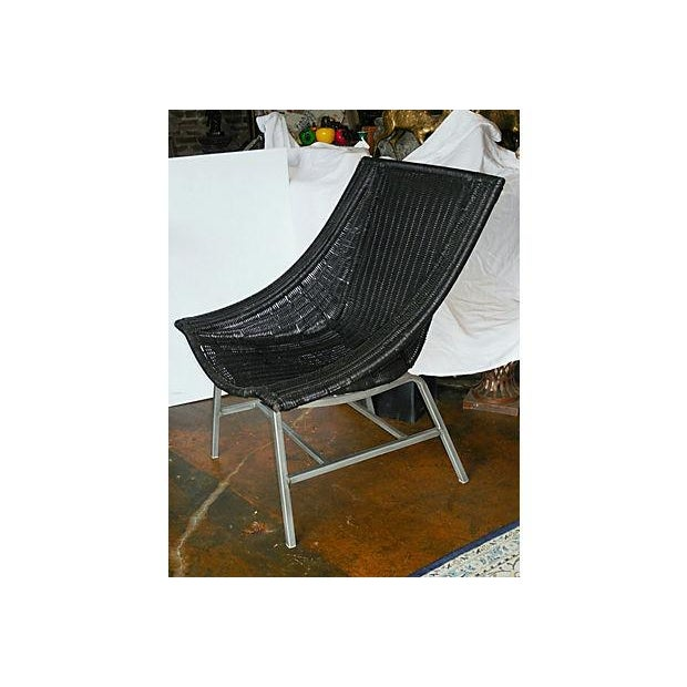 Modernist Wicker & Aluminum Lounge Chair - Image 3 of 6
