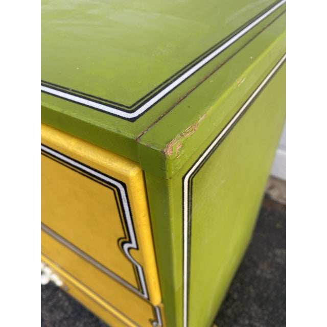Yellow Mid 20th Century Drexel Peter Max Inspired Small Dresser For Sale - Image 8 of 12