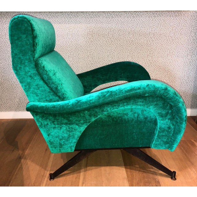 Mid-Century Modern Italian 1950s Velvet Chairs-A Pair For Sale - Image 3 of 6