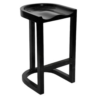 Saddle Bar Stool, Hand Rubbed Black For Sale