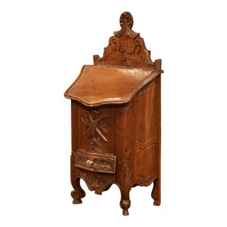 Early 20th Century French Carved Walnut Salt Box From Provence For Sale