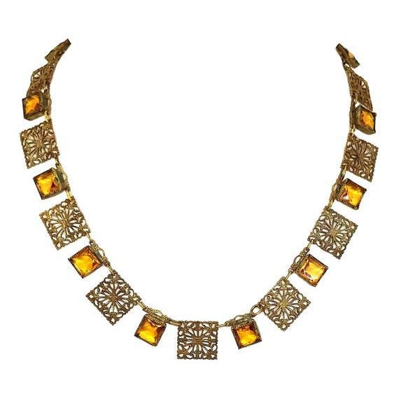 Art Deco Circa 1920s Czech Filigree Link Necklace For Sale - Image 3 of 3