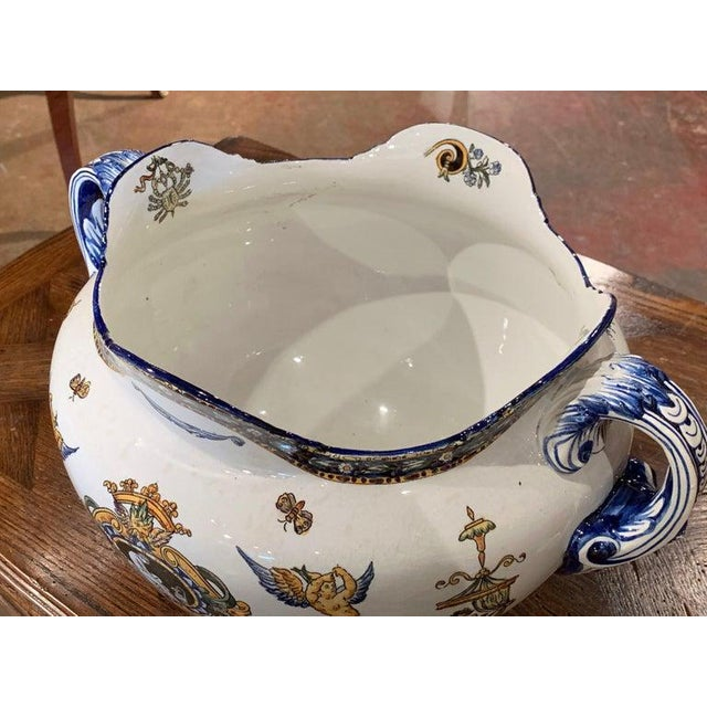 White 19th Century French Louis XV Hand Painted Porcelain Cache Pot Signed Gien For Sale - Image 8 of 11