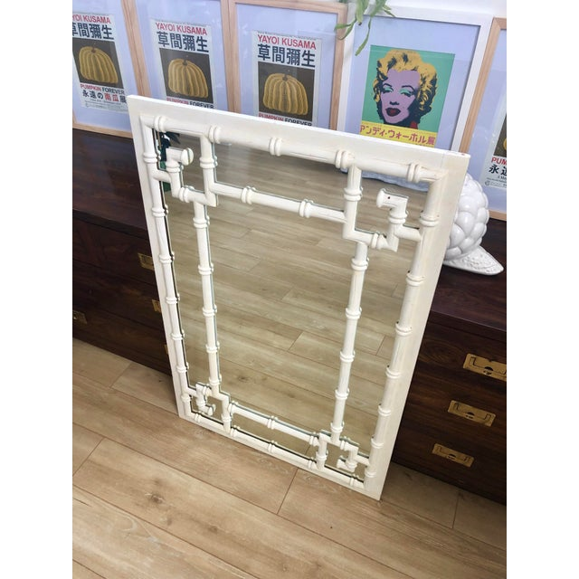 Boho Chic Vintage White Faux Bamboo Greek Key Wall Mirror For Sale - Image 3 of 9