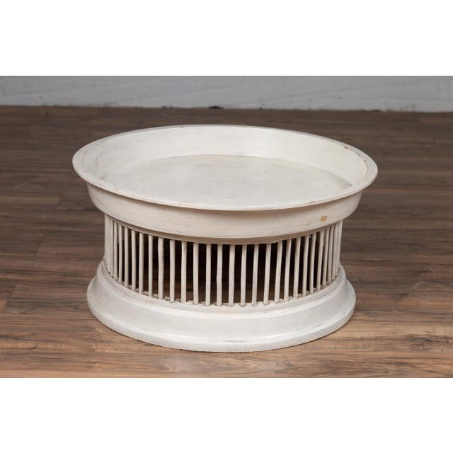 Contemporary Thai Off-White Rattan Drum Design Coffee Table with Spindle Motifs For Sale - Image 11 of 13