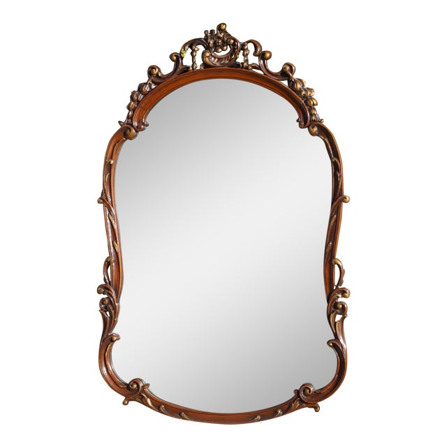 Vintage French Provincial Carved Wood Framed Mirror For Sale