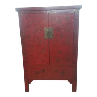 Authentic (1800's) Mid 19th Century Antique Chinese Gold Painted Xi'An Shanxi Red Lacquer Wardrobe Armoire For Sale