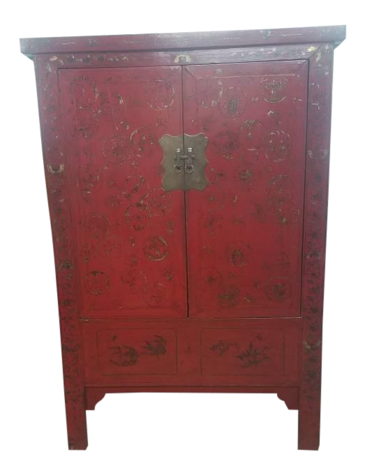 Authentic (1800u0027s) Mid 19th Century Antique Chinese Gold Painted Xiu0027An  Shanxi Red