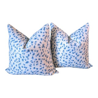 Contemporary Rack Blue & White Leopard Pillows - a Pair For Sale