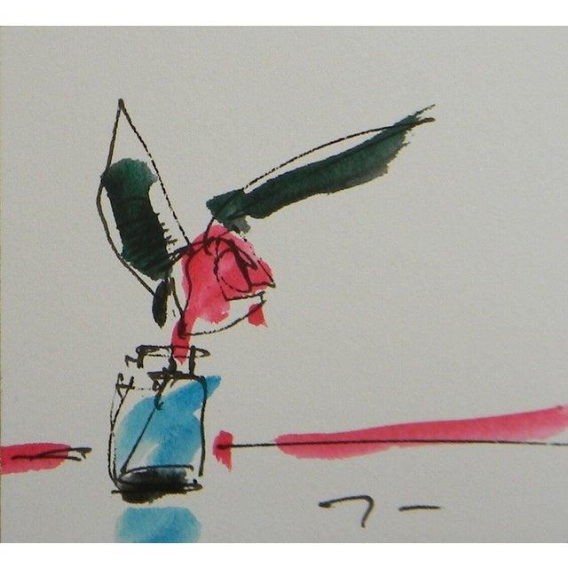 Jose Trujillo Original Pink Rose Decor Watercolor Painting Signed For Sale