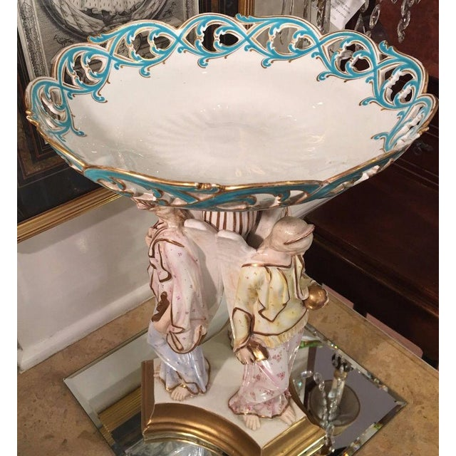 Early 19th Century Rare Antique Copeland Porcelain Figural Centerpiece W Three Angels For Sale - Image 5 of 6