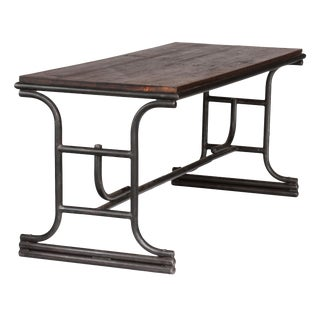 1920s French Industrial Metal Table With Wood Top For Sale