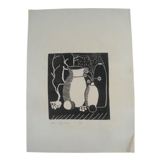 1954 Midcentury Wood Block Print Still Life For Sale