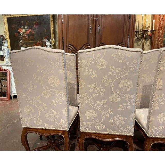 Set of Eight Louis XV Style Carved Walnut Dining Chairs From Minton-Spidell For Sale - Image 12 of 13