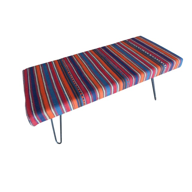 Early 21st Century Kilim Bench With Hairpin Legs, Vintage Kilim Rug Ottoman, Kilim Upholstered Bench With Turkish Kilim Rug For Sale - Image 5 of 10