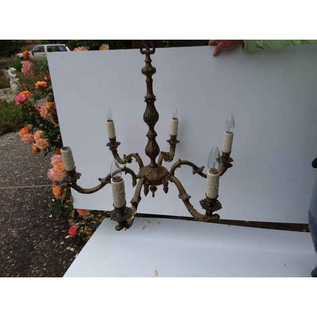 1940s Six Light Dark Brass Chandelier For Sale - Image 5 of 9