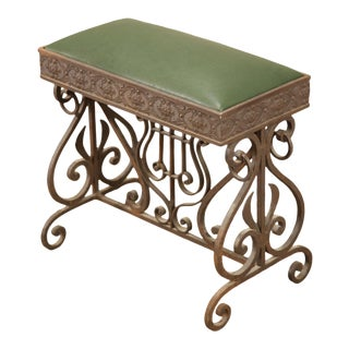 Antique Wrought Iron Small Bench or Stool with Green Leather Seat For Sale