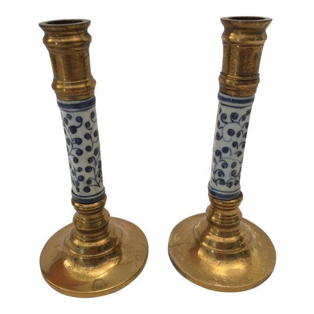 Brass & Ceramic Candlesticks - A Pair For Sale