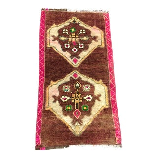 1970s Turkish Brown Color Oushak Handmade Turkish Antique Small Rug - 1′5″ × 2′8″ For Sale