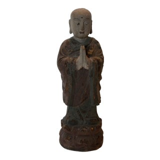 Vintage Chinese Wooden Monk For Sale