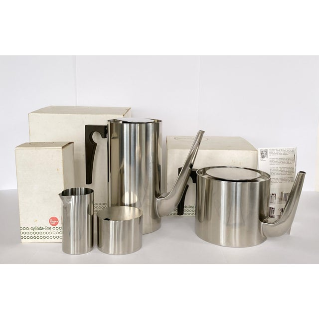 Gorgeous 4-piece Cylinda Line stainless steel coffee and tea set by iconic Danish architect and designer Arne Jacobsen for...