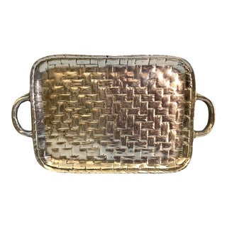 Silver Basketweave Pattern Handled Tray For Sale
