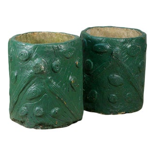 Pair French Green Cement Faux Bois Planters, circa 1940