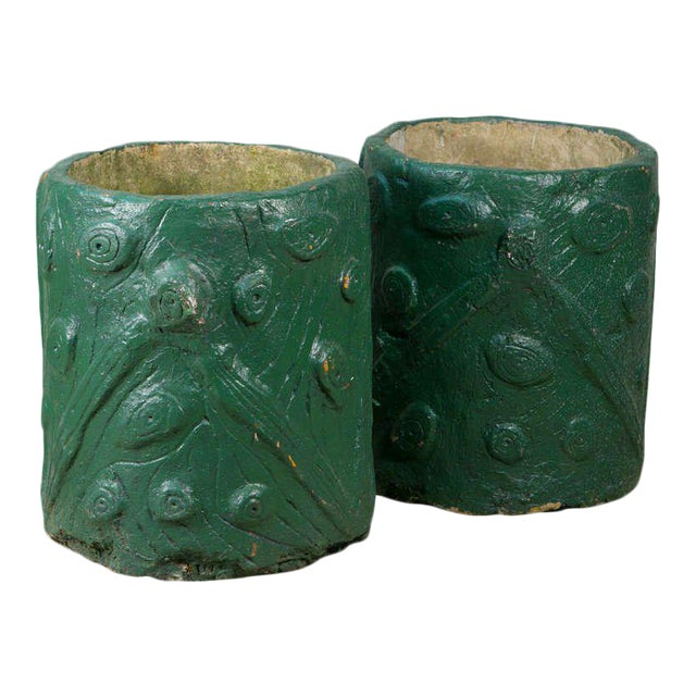 Pair French Green Cement Faux Bois Planters, circa 1940 - Image 1 of 4