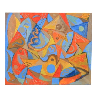 1987 Abstract Composition in Orange and Blue by Lars Larsen For Sale
